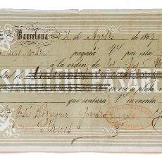 Documentos bancarios: LETRA DE CAMBIO SANLLEHI PASARELL Y CIA. BARCELONA 1869. Lote 110226571