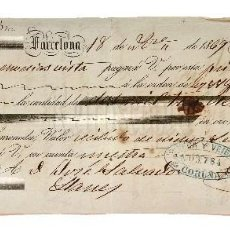 Documentos bancarios: LETRA DE CAMBIO HIJOS DE POMBO. BARCELONA 1869. Lote 110226667