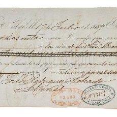 Documentos bancarios: LETRA DE CAMBIO MIARONS DORIA Y VILOCA. SABADELL BARCELONA 1869. Lote 110226759