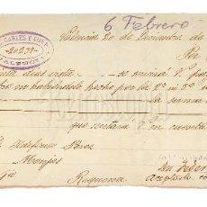 Documentos bancarios: LETRA DE CAMBIO J. B. CARLES Y COMPAÑÍA. VALENCIA 1898. Lote 110226879