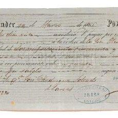 Documentos bancarios: LETRA DE CAMBIO JOSÉ CEBALLOS BUSTAMANTE. SANTANDER 1865. Lote 110227471