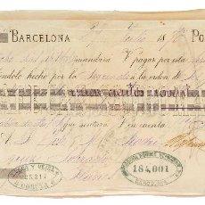 Documentos bancarios: LETRA DE CAMBIO RAFAEL SANROMÁ Y CIA. BARCELONA 1875. Lote 110227943