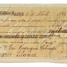 Documentos bancarios: LETRA DE CAMBIO ELIAS Y CASO. MADRID 1872. Lote 110228095
