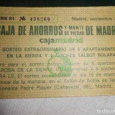Documentos bancarios: PAPELETA SORTEO CAJA DE AHORROS Y MONTE DE PIEDAD DE MADRID 1983. Lote 110338859