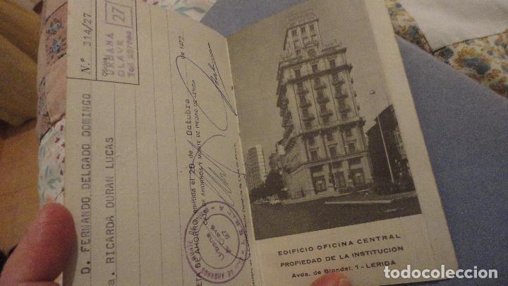 Documentos bancarios: ANTIGUA LIBRETA DE AHORROS.CAJA AHORROS MONTE PIEDAD DE LERIDA. 1972 - Foto 2 - 110929495