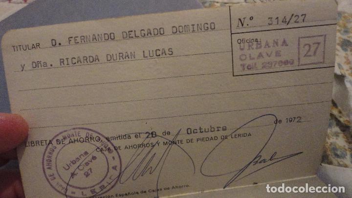 Documentos bancarios: ANTIGUA LIBRETA DE AHORROS.CAJA AHORROS MONTE PIEDAD DE LERIDA. 1972 - Foto 3 - 110929495