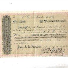 Documentos bancarios: PAGARE. JEREZ DE LA FRONTERA. 1875. MANUEL MISA. 156.987 REALES DE VELLON. VER. Lote 111661899