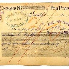 Documentos bancarios: CHEQUE ALMACÉN DE TEJIDOS HIJOS DE JOSÉ HERRERO. OVIEDO ASTURIAS AÑO 1920. Lote 112261663