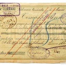 Documentos bancarios: CHEQUE ALMACÉN DE TEJIDOS TOMÁS ALONSO. PALENCIA AÑO 1915. Lote 119995684