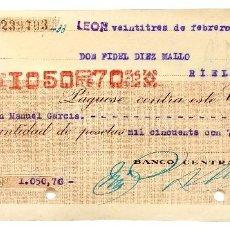 Documentos bancarios: CHEQUE BANCO CENTRAL DE MADRID. LEÓN AÑO 1942. Lote 112264671
