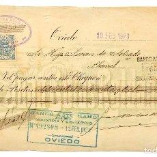 Documentos bancarios: CHEQUE ALMACÉN DE TEJIDOS JUAN BOTAS ROLDÁN. OVIEDO ASTURIAS AÑO 1923. Lote 112264991