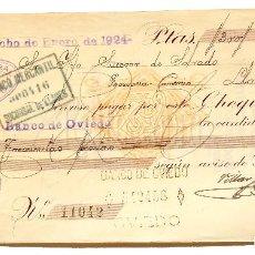 Documentos bancarios: CHEQUE JOSÉ VILLAR Y COMPAÑÍA. OVIEDO ASTURIAS AÑO 1924. Lote 112266631