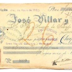 Documentos bancarios: CHEQUE JOSÉ VILLAR Y COMPAÑÍA. OVIEDO ASTURIAS AÑO 1920. Lote 112266763