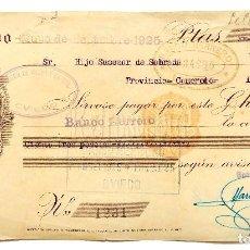 Documentos bancarios: CHEQUE ALMACÉN DE TEJIDOS MARIANO MARTÍNEZ SUCESOR DE VILLAR Y CARRAL. OVIEDO ASTURIAS AÑO 1925. Lote 112266927