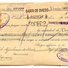 Documentos bancarios: CHEQUE ALMACÉN DE TEJIDOS HIJOS DE JOSÉ HERRERO. OVIEDO ASTURIAS AÑO 1924. Lote 112267155