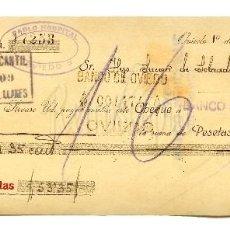 Documentos bancarios: CHEQUE ALMACEN GÉNEROS DE PUNTO PABLO HOSPITAL. OVIEDO ASTURIAS AÑO 1924. Lote 112267591