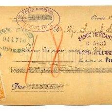 Documentos bancarios: CHEQUE ALMACEN GÉNEROS DE PUNTO PABLO HOSPITAL. OVIEDO ASTURIAS AÑO 1920. Lote 112267731