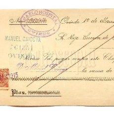 Documentos bancarios: CHEQUE ALMACÉN GÉNEROS DE PUNTO PABLO HOSPITAL. OVIEDO ASTURIAS AÑO 1915. Lote 112267935