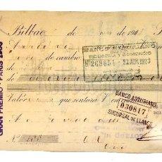 Documentos bancarios: LETRA DE CAMBIO COMPAÑÍA VINÍCOLA DEL NORTE DE ESPAÑA C. V. N. E. BILBAO 1913. Lote 112268915