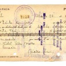 Documentos bancarios: LETRA DE CAMBIO BANCO DE VALENCIA AÑO 1944. Lote 112269491