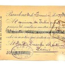 Documentos bancarios: LETRA DE CAMBIO AMIANTO Y CABLES ELÉCTRICOS G. KLEIN Y COMPAÑÍA. BARCELONA AÑO 1899. Lote 112270091