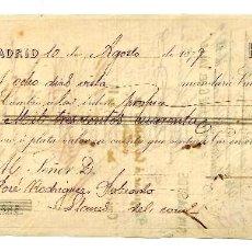 Documentos bancarios: LETRA DE CAMBIO CINTAS TERCIOPELOS Y PASAMANERÍA LUIS ROY Y SOBRINO. MADRID AÑO 1879. Lote 112270315