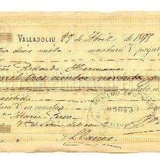 Documentos bancarios: LETRA DE CAMBIO JOSÉ GARRAN. VALLADOLID AÑO 1875. Lote 112270507