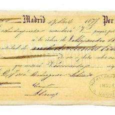Documentos bancarios: LETRA DE CAMBIO ANTONIO DEL CERRO Y RODRÍGUEZ. MADRID AÑO 1875. Lote 112270663