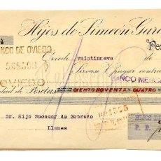 Documentos bancarios: LETRA DE CAMBIO HIJOS DE SIMEÓN GARCÍA Y COMPAÑÍA. OVIEDO ASTURIAS AÑO 1924. Lote 112272043