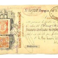 Documentos bancarios: LETRA DE CAMBIO TALLERES ELECTROMECÁNICOS VALERO ROS Y HERMANOS. ZARAGOZA AÑO 1909. Lote 112272411