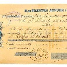 Documentos bancarios: LETRA DE CAMBIO ALMACÉN DROGAS PRODUCTOS QUÍMICOS FARMACIA NATALIO ASPURZ E HIJO PALENCIA 1899. Lote 112272551