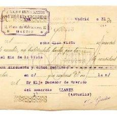 Documentos bancarios: LETRA DE CAMBIO ALMACÉN DE HULES Y PLUMEROS ANTONIO Y RICARDO CASTELLS. MADRID AÑO 1922. Lote 112272735