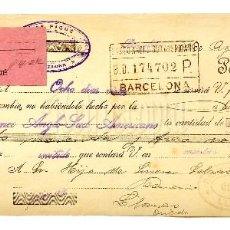 Documentos bancarios: LETRA DE CAMBIO JOSÉ PIQUÉ. BARCELONA AÑO 1920. Lote 112272975
