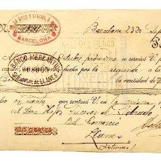Documentos bancarios: LETRA DE CAMBIO DE LA CRUZ Y SANCHO. BARCELONA AÑO 1925. Lote 112273195