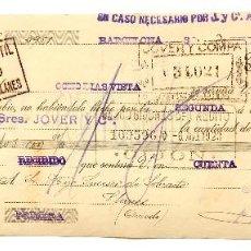 Documentos bancarios: LETRA DE CAMBIO ALMACÉN DE MERCERÍA MANUEL RECORT Y ULIÓ. BARCELONA AÑO 1923. Lote 112273459