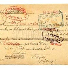 Documentos bancarios: LETRA DE CAMBIO JOAQUÍN MESEGUER LORENTE. MURCIA AÑO 1923. Lote 112273667