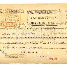 Documentos bancarios: LETRA DE CAMBIO FÁBRICA DE PARAGUAS Y SOMBRILLAS AGUIRRE Y ALMANZOR. SAN SEBASTIÁN AÑO 1923. Lote 112274115
