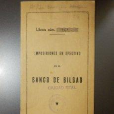 Documentos bancarios: ANTIGUA LIBRETA CARTILLA BANCARIA BANCO DE BILBAO - 1942 - CON SELLLO PEGADO DEL BANDO DE BILBAO -. Lote 43158202