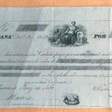 Documentos bancarios: LETRA DE CAMBIO ANTIGUA CUBA LA HABANA AÑO 1839 CON CERTIF. AUTENTICIDAD. DOCUMENTOS BANCARIOS. Lote 112872523