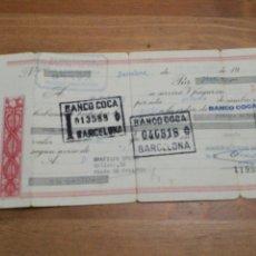 Documentos bancarios: PAGARE BANCO COCA, DE BARCELONA 1971. Lote 113847278
