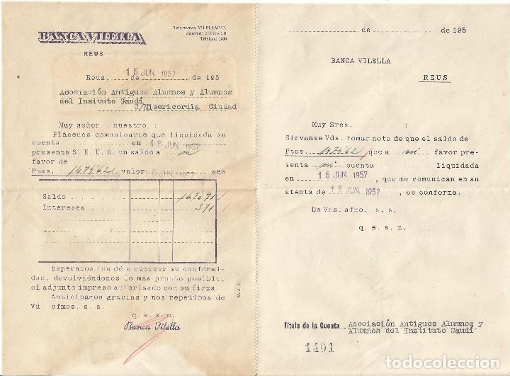 BANCA VILELLA REUS 1957 TITULO DE LA CUENTA ASOCIACION ANTIGUOS ALUMNOS INSTITUTO GAUDI (Coleccionismo - Documentos - Documentos Bancarios)