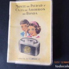 Documentos bancarios: MALAGA, CARTILLA DE AHORROS, DE RONDA, 1956. Lote 115014059