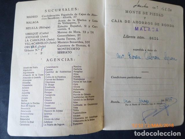 Documentos bancarios: malaga, cartilla de ahorros, de ronda, 1956 - Foto 3 - 115014059
