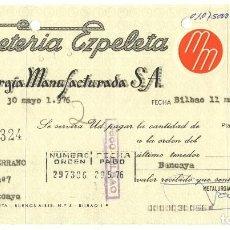 Documentos bancarios: LOTE DE 5 LETRAS DE CAMBIO Y RECIBOS BANCARIOS AURORA POLAR FERRETERIA EZPELETA BILBAO GUECHO. Lote 115244767