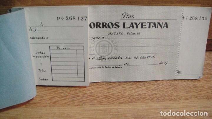 TALONARIO O CHEQUERA , CAJA DE AHORROS LAYETANA DE MATARO - 18 CHEQUES (Coleccionismo - Documentos - Documentos Bancarios)