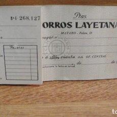 Documentos bancarios: TALONARIO O CHEQUERA , CAJA DE AHORROS LAYETANA DE MATARO - 18 CHEQUES. Lote 115448043