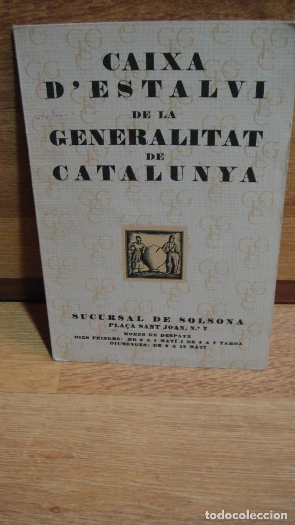 CARTILLA O LIBRETA DE AHORROS , AÑO 1935 CAIXA DE ESTALVI , SOLSONA , TORA - (Coleccionismo - Documentos - Documentos Bancarios)
