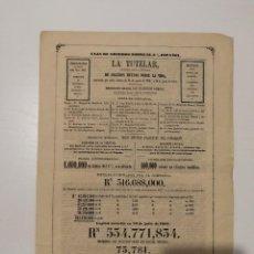 Documentos bancarios: DOCUMENTO DE LA TUTELAR. CIA. GRAL. ESPAÑOLA DE SEGUROS SOBRE VIDA. 1861. Lote 115697955