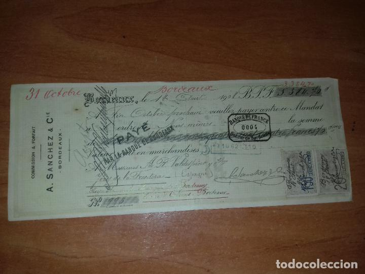 LETRA DE CAMBIO. A. SANCHEZ-CALZADILLA & CIE. BORDEAUX. 18-AGOSTO-1908. (Coleccionismo - Documentos - Documentos Bancarios)