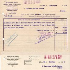Documentos bancarios: GUERRA CIVIL. 1938. 2 DOCUMENTOS BANCO DE GIJON. SOBRE ACCIONES S. A. MINERA SETOLAZAR. MINA DEL RIF. Lote 116074695